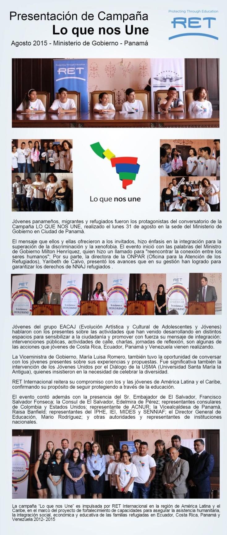 Campaña LO QUE NOS UNE - Evento en Panamá - ONPAR y MINGOB